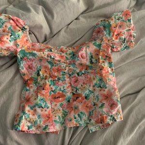 Zara off the shoulder floral top